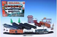 Vlak + 5 vagónů + doplňky délka dráhy 403cm na baterie se světlem v krabici