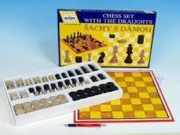 Šachy+dáma dřevo společenská hra v krabici 42x26,5x4cm - Rock David
