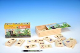 Domino Krtek dřevo společenská hra 28 dílků v dřevěné krabičce - Rock David