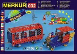 Stavebnice MERKUR 032 Železniční modely 10 modelů 300ks v krabici 36x27x3cm - Rock David