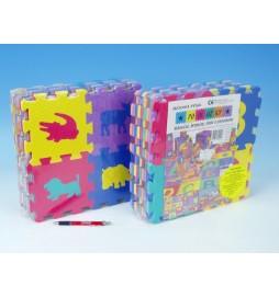 Pěnové puzzle Zvířata/ovoce/čísla 15x15cm 36ks v sáčku