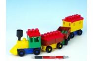 Stavebnice LORI 6 vlak+ 3 vagónky plast v sáčku