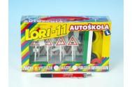 Stavebnice LORI 11 Autoškola 16 značek + 2 kužely + 1 auto plast v krabici 22x13x6cm
