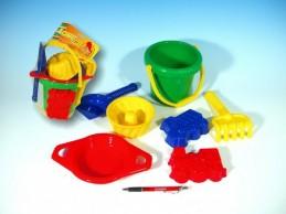 Kbelík sítko lopatka hrabičky 3 bábovky plast v síťce od 12 měsíců - Rock David