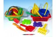 Košík sada - 2 bábovky rýč lopatka hrabičky sítko kbelík nákupní košík plast od 12 měsíců