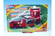 Stavebnice Cheva 21 Hasičská stanice plast 411ks v krabici 45x30x5cm