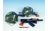 Přilba vojenská + Samopal plast 30cm na setrvačník jiskřící v síťce