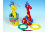 Žirafa plast 33cm s kroužky 3 barvy (1ks v sáčku) od 18 měsíců