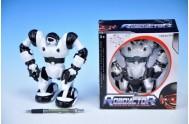 Robot plast 17cm chodící na baterie v krabici