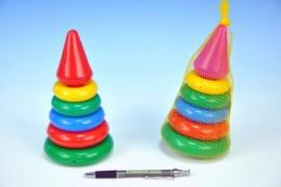 Skládačka pyramida s kroužky malá plast 18cm v síťce od 12 měsíců - Rock David