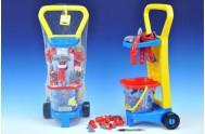 Vozík s nářadím plast 60x25x20cm s doplňky v síťce