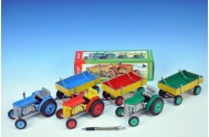 Traktor Zetor s valníkem kov 28cm 1:25 v krabičce Kovap