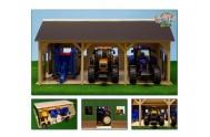 Garáž pro 3 traktory dřevo 55x77,5x38cm 1:16 v krabičce