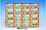 Minipuzzle Dopravní prostředky 24 dílků 16,5x11cm asst 5 druhů v krabičce 32ks v boxu