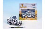 Auto Land Rover safari kov 14cm na baterie 3xLR41 na zpětné natažení se světlem v krabičce