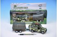 Auto Vojenské Land Rover Defender kov 14,5cm na zpětný chod s přívěsem s plachtou v krabici