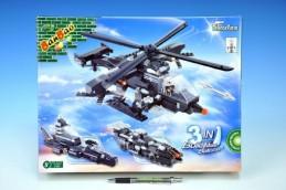 Stavebnice Banbao Vrtulník, vozidlo, vznášedlo 3v1 295ks + 1 figurkva v krabici 37,5x28,5x6,5 - Rock David