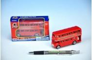 Autobus Londýn červený patrový kov 10cm v krabičce