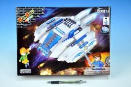 Stavebnice BanBao Vesmírná loď na baterie se světlem 252ks + 2 figurky v krabici 33x24x7cm - Rock David