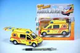 Auto ambulance kov 13cm česky mluvící na zpětné natažení na baterie se světlem v krabičce - Rock David