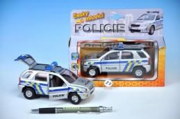 Auto policie kov 13cm česky mluvící na zpětné natažení na baterie se světlem v krabičce - Rock David
