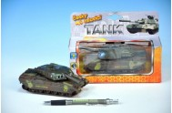 Tank kov 14cm česky mluvící na zpětné natažení na baterie se světlem v krabičce