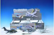 Letadlo přepravní kov 22cm na baterie se zvukem se světlem asst 3 barvy 6ks v boxu