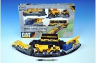 Vlak nákladní CAT plast lokomotiva + 3 vagóny + dráha 58,5x33cm na baterie v krabici