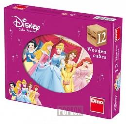 Princezny - Dřevěné kostky 12 ks - Disney Walt
