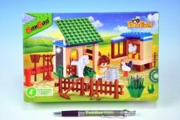 Stavebnice BanBao Farma Zahrádka se zvířátky 115ks + 1 figurka v krabici - Rock David