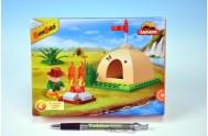 Stavebnice BanBao Safari malý stan s ohništěm 46ks + 1 figurka v krabičce