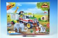 BanBao stavebnice Safari jeep se zvířecí klecí 335ks + 3 figurky v krabici