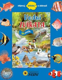 Vodní zvířata - 8 puzzle - Objevuj, skládej a obkresli