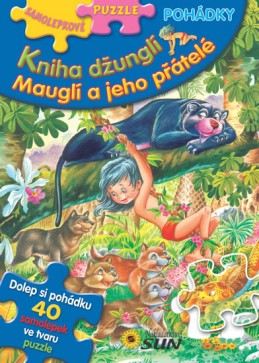 Kniha džunglí, Mauglí a jeho přátelé - Samolepkové puzzle pohádky - neuveden