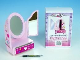Zrcadlo Princess 3-dílné se zásuvkou