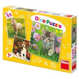 Zvířátka na zahradě - Puzzle 3x55 dílků