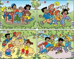 Puzzle MINI - Děti si hrajou/12 dílků (4 druhy)