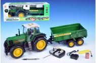 Traktor RC s valníkem plast 70cm na baterie na vysílačku  plná funkce v krabici