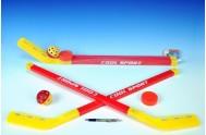 Hokejka pozemní 2ks plast 75cm + florbalový míček + puk v síťce