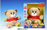 Medvěd Tedík mluvící plyš 30cm na baterie 25x30cm v krabici 12m+