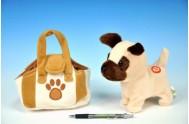 Pes v tašce plyš 16cm na baterie se zvukem v sáčku
