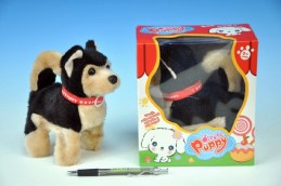 Pes salto chodící štěkající plyš 14cm na baterie v krabici - Rock David