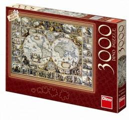 Historická mapa - puzzle 3000 dílků - neuveden